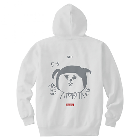 "minario / たまおさん""5才"" Hooded Sweatshirt White"