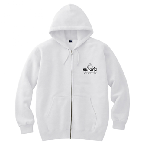 minario / NYAN-2 TRIANGLE F/ZIP HOODED SWEATSHIRT WHITE