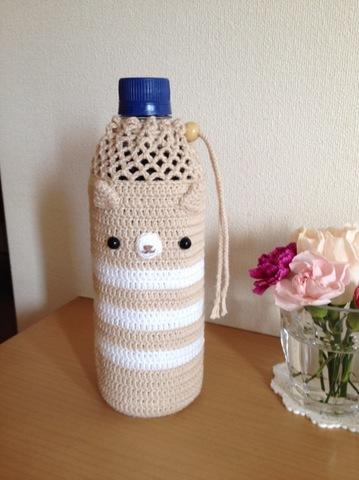 手編み ペットボトルカバー 猫ちゃん顔