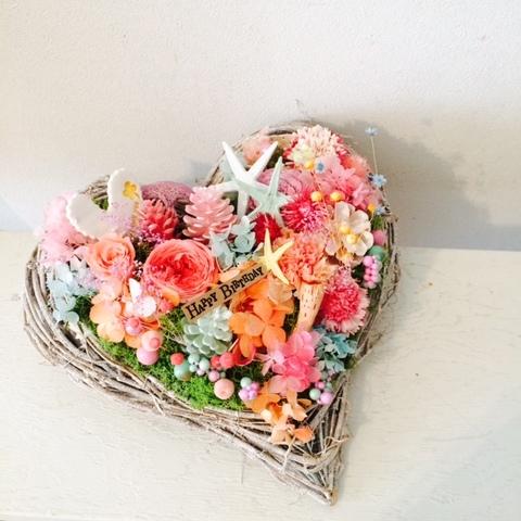 ハートの花カゴ