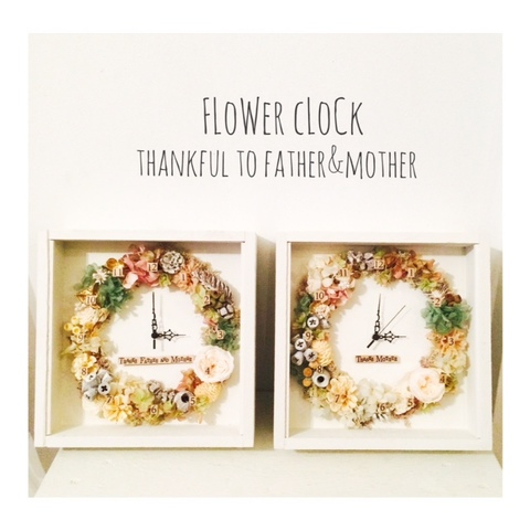 FlowerClock-ガラス付き② white