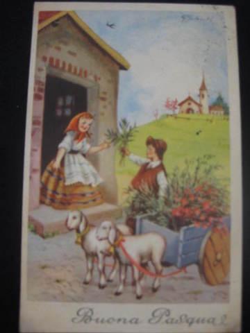 【アンティ-クポストカード】(切手付き)Buona Pasqua (Happy Easter ) : 1953年
