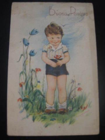【アンティ-クポストカード】(切手付き)Buona Pasqua (Happy Easter ) : 1942年