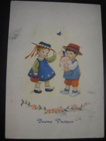 【アンティ-クポストカード】(切手付き)Buona Pasqua (Happy Easter ) : 1967年