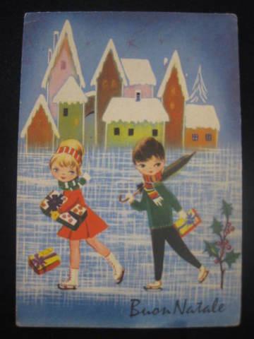 【アンティ-クポストカード】(切手なし)Buon Natale( Merry Christmas )無地 : 1940年代