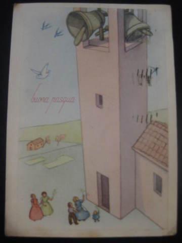 【アンティ-クポストカード】(切手なし)Buona Pasqua (Happy Easter ) : 1941年