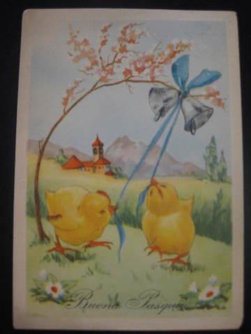 【アンティ-クポストカード】(切手付き)Buona Pasqua (Happy Easter ) : 1955年