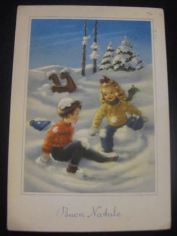 【アンティ-クポストカード】(切手あり)Buon Natale( Merry Christmas ) : 1922年