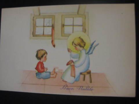 【アンティ-クポストカード】(切手なし)Buon Natale( Merry Christmas ) : 1958年
