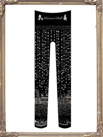 pd8044-1 わたしにつもる星の夜タイツ(Black)
