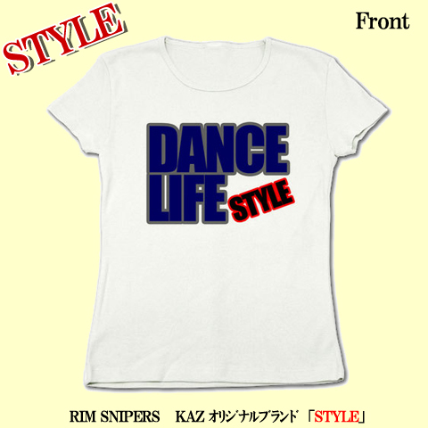 「DANCE LIFE」リブクルーネックTシャツ(ホワイト)