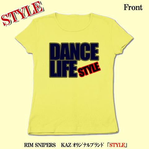 「DANCE LIFE」リブクルーネックTシャツ(ライトイエロー)