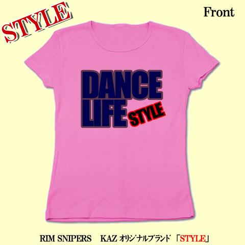 「DANCE LIFE」リブクルーネックTシャツ(ピンク)