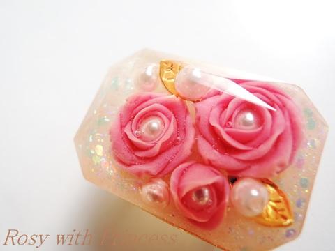 薔薇の宝石の帯留(ワイン、ラディアントカット)