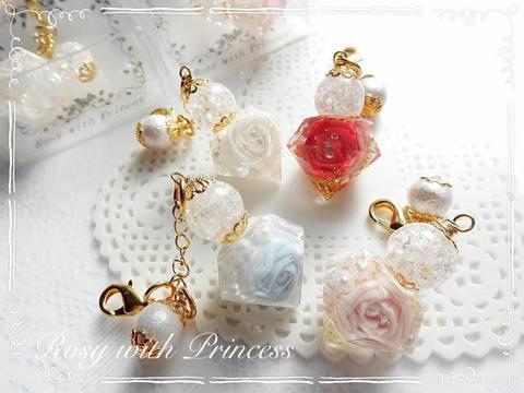 【カラーオーダー】薔薇のパフュームボトル型ストラップ・イヤフォンジャック
