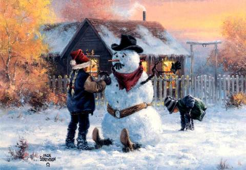 "Christmas Card ""Snowman and Children"""