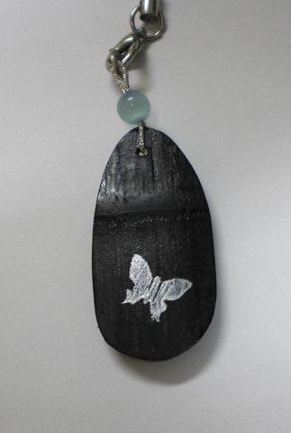 竹炭携帯ストラップ(蝶)(T16)