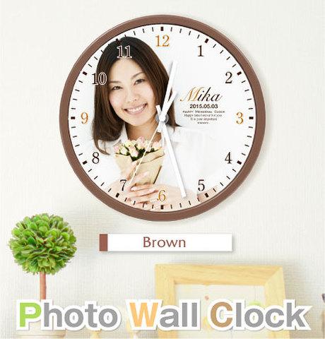 写真入り壁掛け時計【ブラウン】