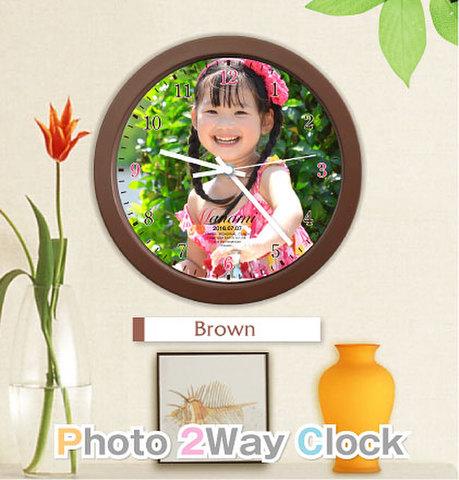 写真入り2way時計【ブラウン】