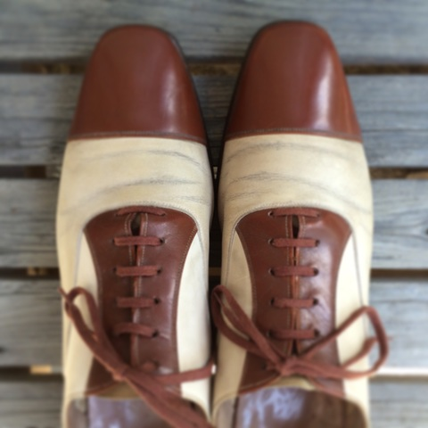 Genuine 1930's vintage W.L. DOUGLAS cap toe spectaor shoes