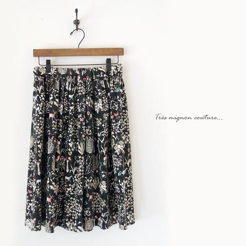 リバティ Yoshie ギャザースカート (ブラック)