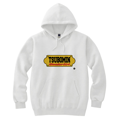 TSUBOMIN / YELLOW SIGNBOARD HOODED SWEATSHIRT WHITE