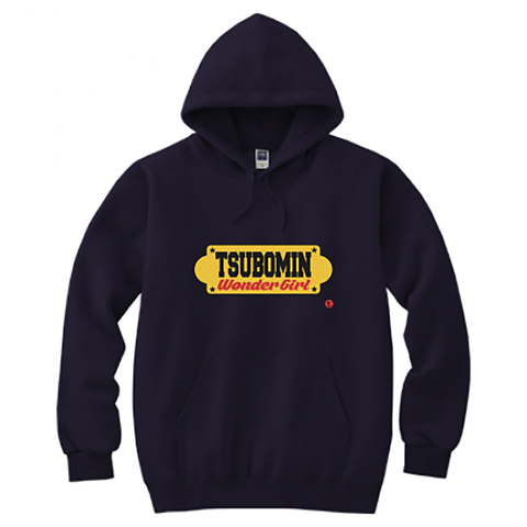 TSUBOMIN / YELLOW SIGNBOARD HOODED SWEATSHIRT NAVY