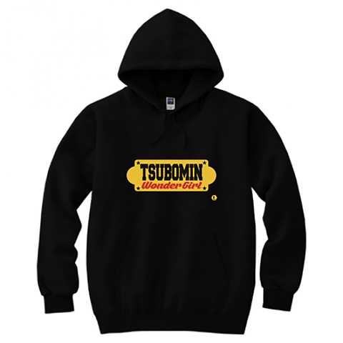 TSUBOMIN / YELLOW SIGNBOARD HOODED SWEATSHIRT BLACK