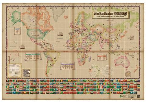 世界が見える世界地図シリーズ:お風呂場でも貼れる!アンティーク風グリニッジ中心世界地図【英語版】(ユポ紙、W775mm×H535mm、片面4色印刷)