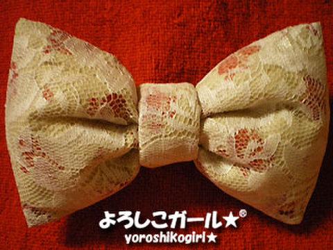 ふんわり大きな おリボン ヘアピン&バッチ 花柄レース(白)、アイボリー布、赤派花柄