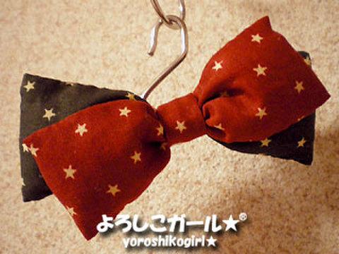 ふっくら おリボン バレッタ(2段重ね) 赤、黒、星型