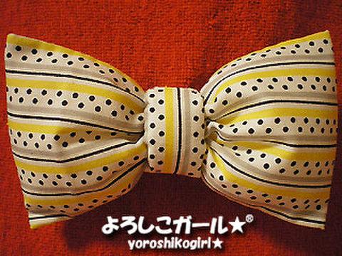 ふんわり大きな おリボン ヘアピン&バッチ 布モチーフ 黄、灰、点