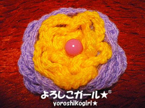 よろしこの花飾り001 パープル&オレンジ (ヘアピンバッジ小)