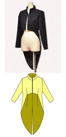 ハイネック燕尾ジャケットの型紙婦人Lサイズ
